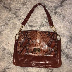 Badgley Mischka Brown Leather & Snakeskin Bag